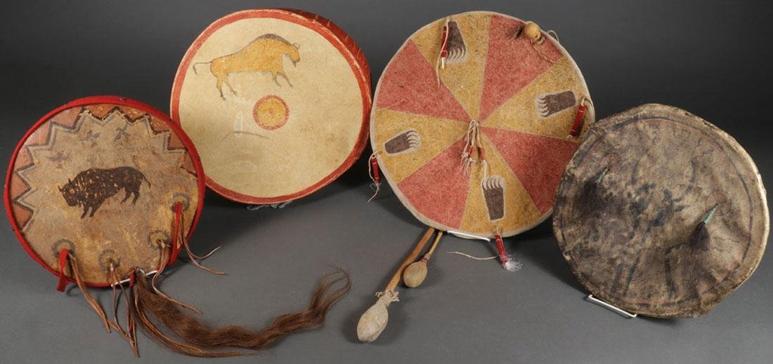 FOUR NATIVE AMERICAN STYLE HIDE DRUMS