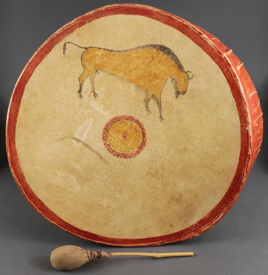 FOUR NATIVE AMERICAN STYLE HIDE DRUMS - 2