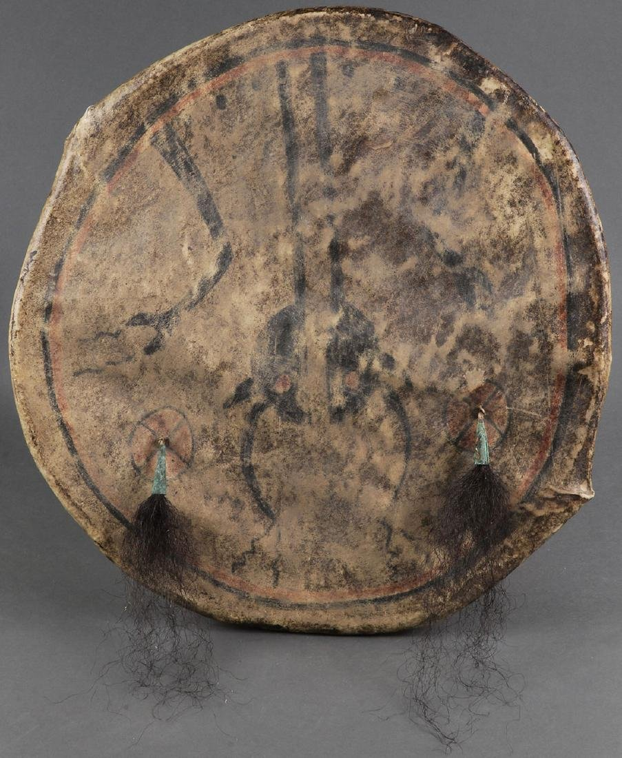 FOUR NATIVE AMERICAN STYLE HIDE DRUMS - 3