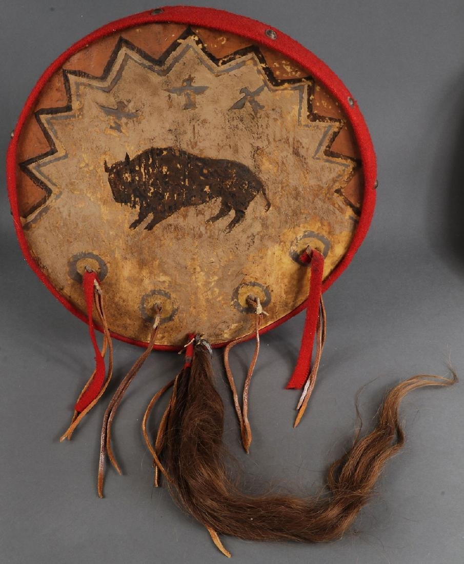FOUR NATIVE AMERICAN STYLE HIDE DRUMS - 4