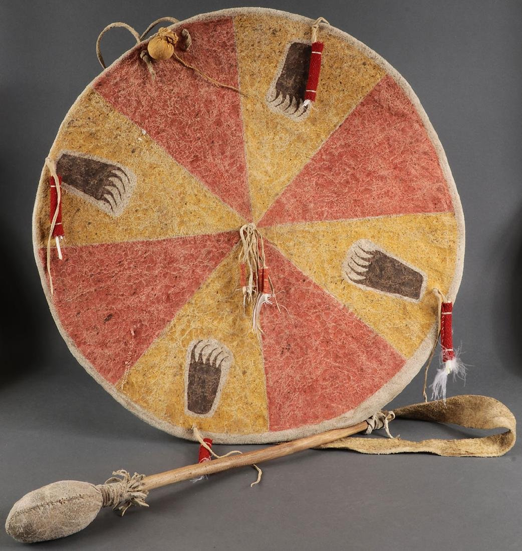 FOUR NATIVE AMERICAN STYLE HIDE DRUMS - 5