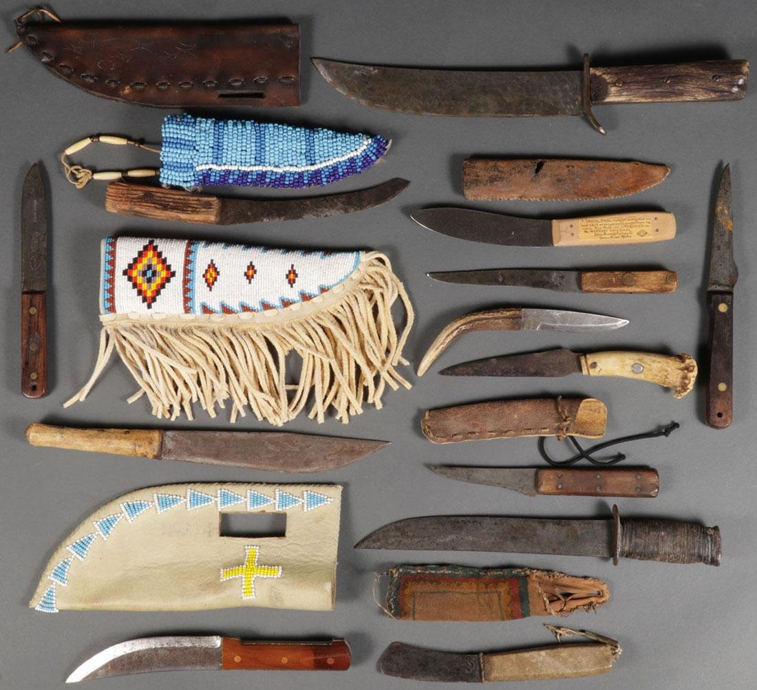 A GROUP OF TRADE STYLE KNIVES AND BEADED SHEATHS