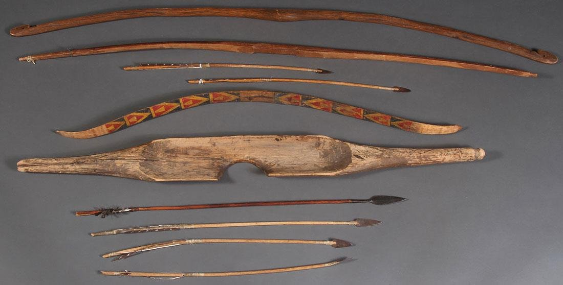 THREE NATIVE AMERICAN BOWS, 19TH CENTURY