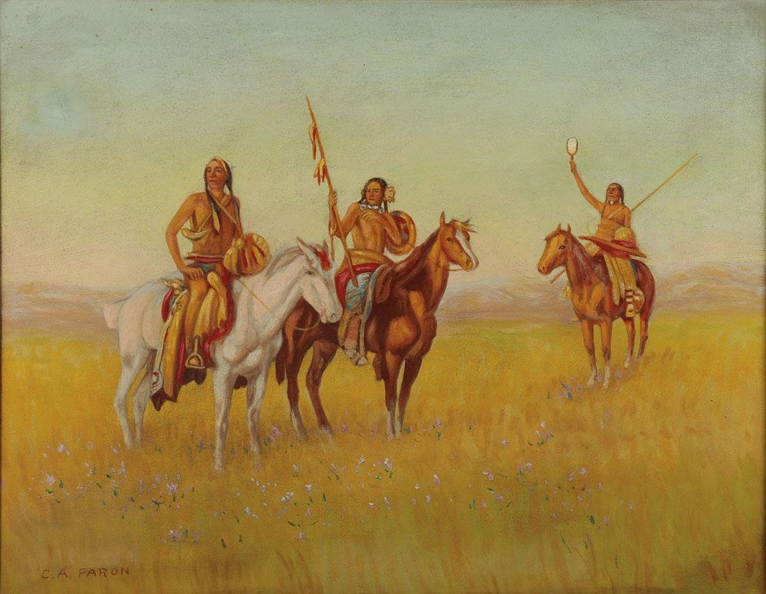A PAIR OF NATIVE AMERICAN THEMED OIL PAINTINGS