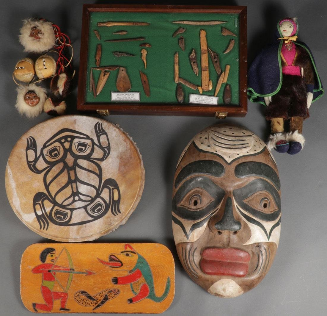 A GROUP OF MOSTLY NORTHWEST COAST ITEMS, 20TH C.
