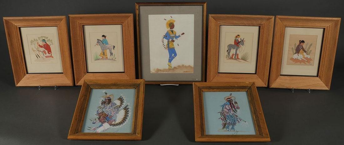TEN FRAMED INDIAN ARTWORKS, 20TH CENTURY