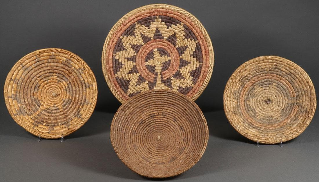 FOUR SOUTHWEST WOVEN BASKETS, CIRCA 1900 & LATER