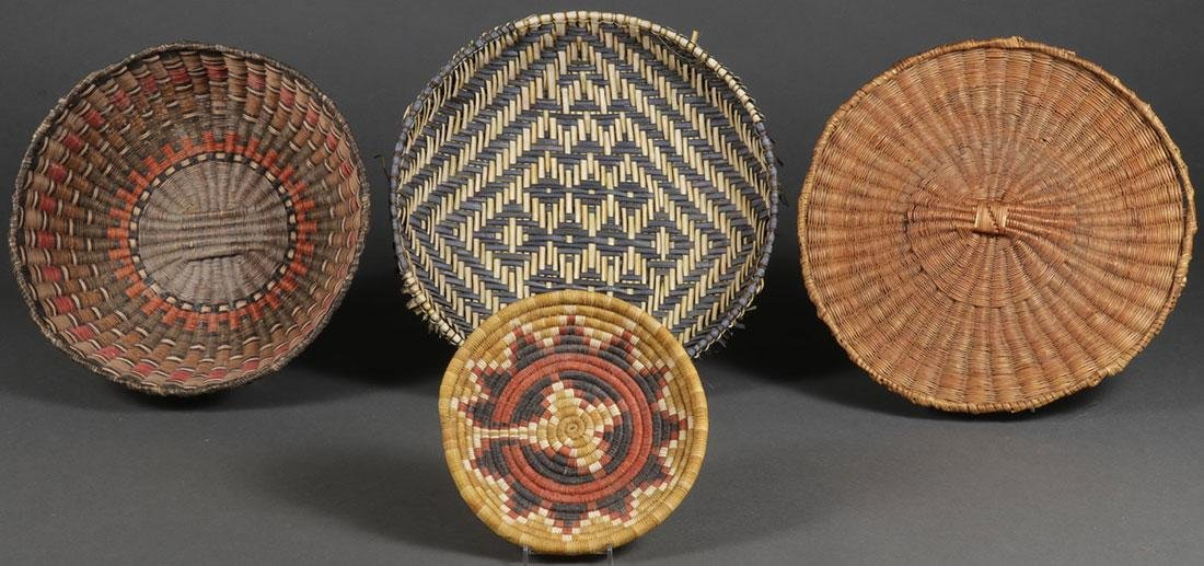FOUR HOPI WOVEN BASKETS, CIRCA 1920 AND LATER