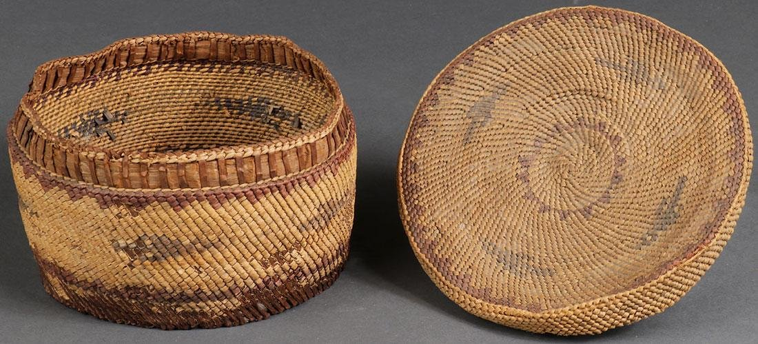 EIGHT WOVEN BASKETS, CIRCA 1910 AND LATER - 5