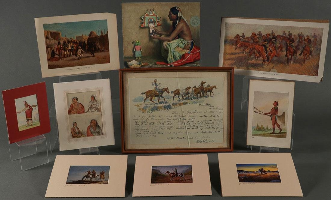 SEVENTEEN NATIVE AMERICAN THEMED WORKS ON PAPER