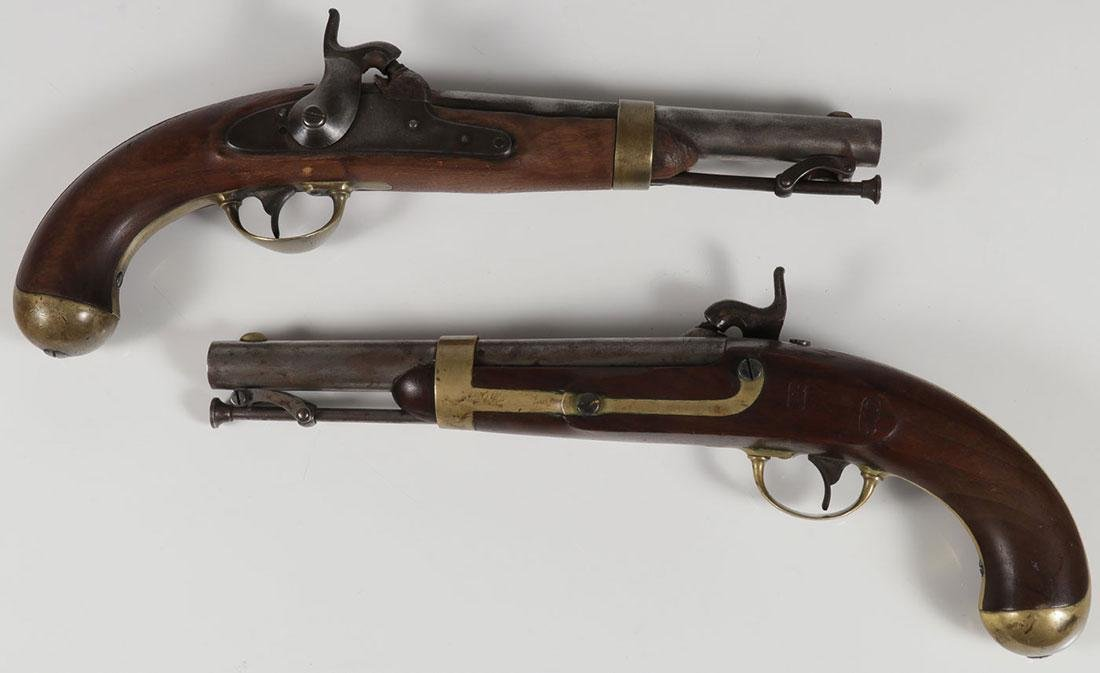 A PAIR OF ASTON US MODEL 1842 MARTIAL PISTOLS