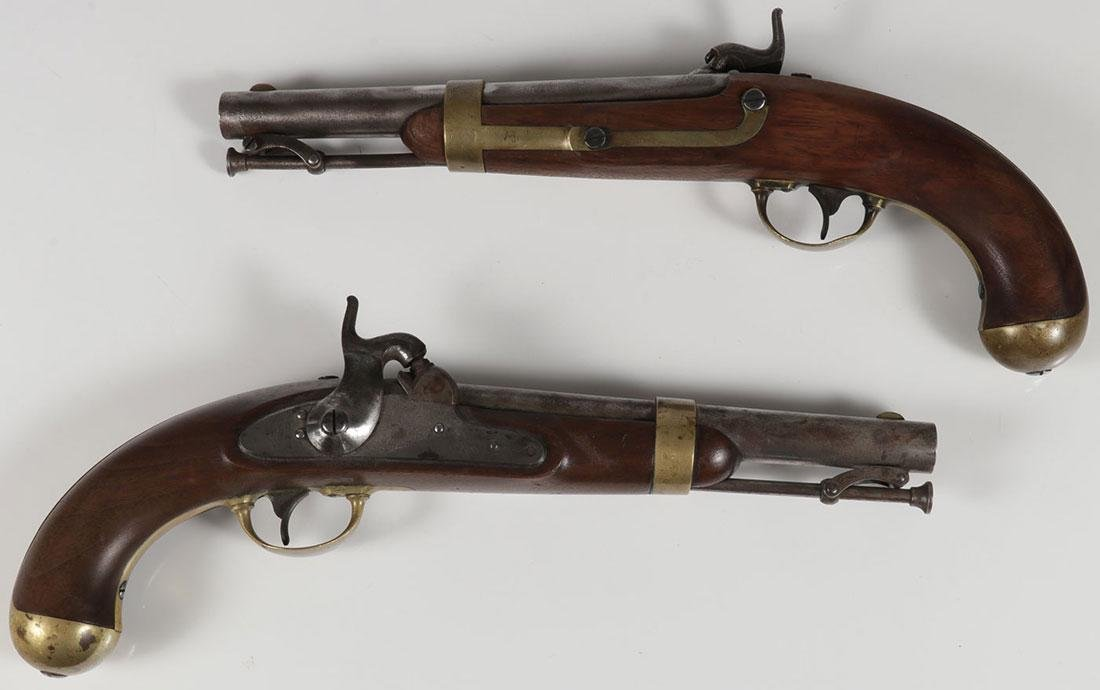 A PAIR OF ASTON US MODEL 1842 MARTIAL PISTOLS - 2