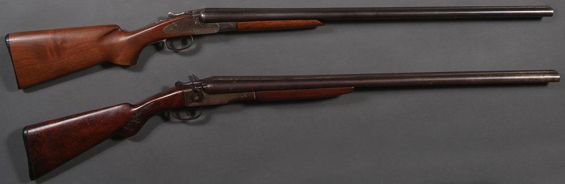 A PAIR OF 12 GAUGE DOUBLE BARREL SHOTGUNS