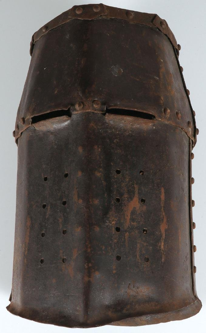 MEDIEVAL STYLE HAND FORGED IRON HELMET