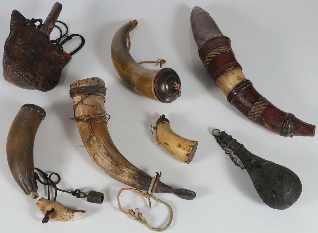 SEVEN POWDER HORNS/FLASKS, 19TH AND 20TH CENTURY
