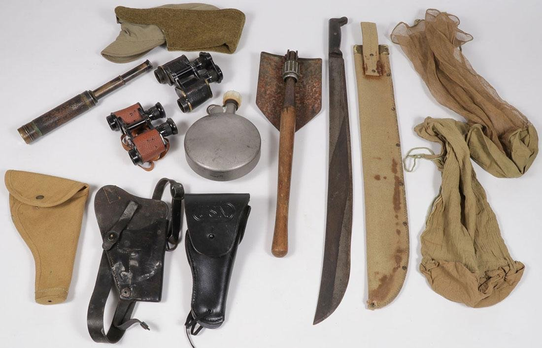 A DOZEN MOSTLY MILITARY GEAR ITEMS