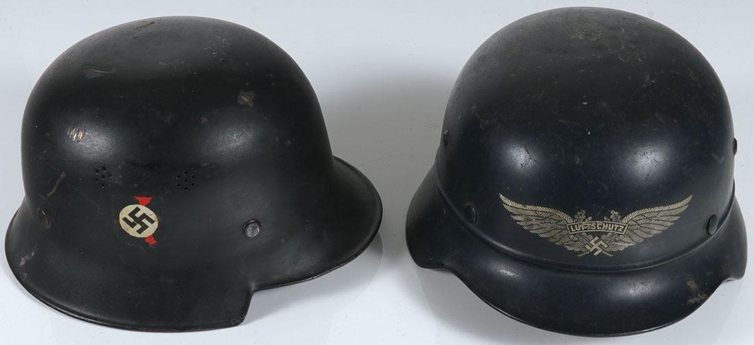 TWO GERMAN WWII HELMETS
