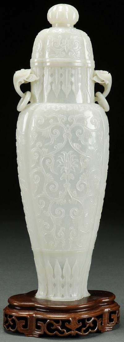 A VERY FINE MUGHAL CHINESE CARVED WHITE JADE URN