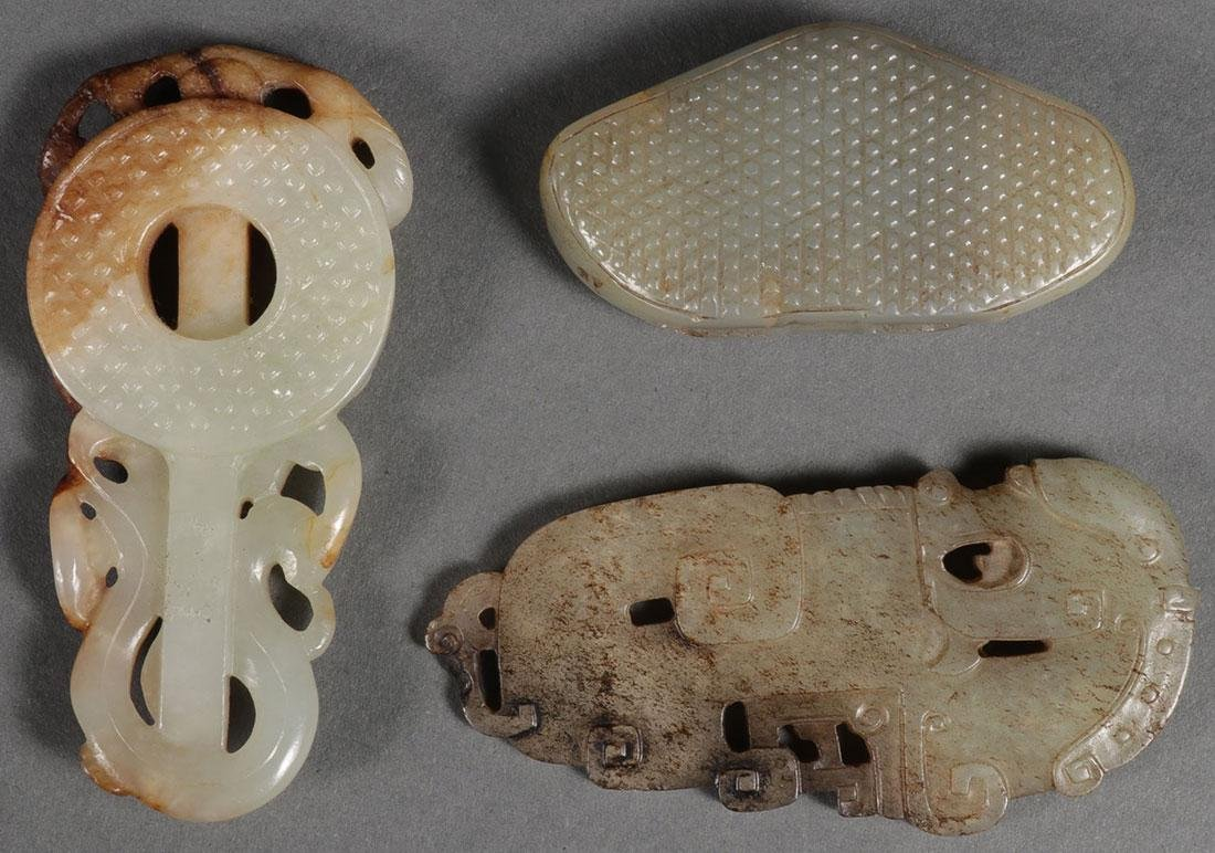 A GROUP OF THREE CHINESE CARVED JADE PENDANTS - 2
