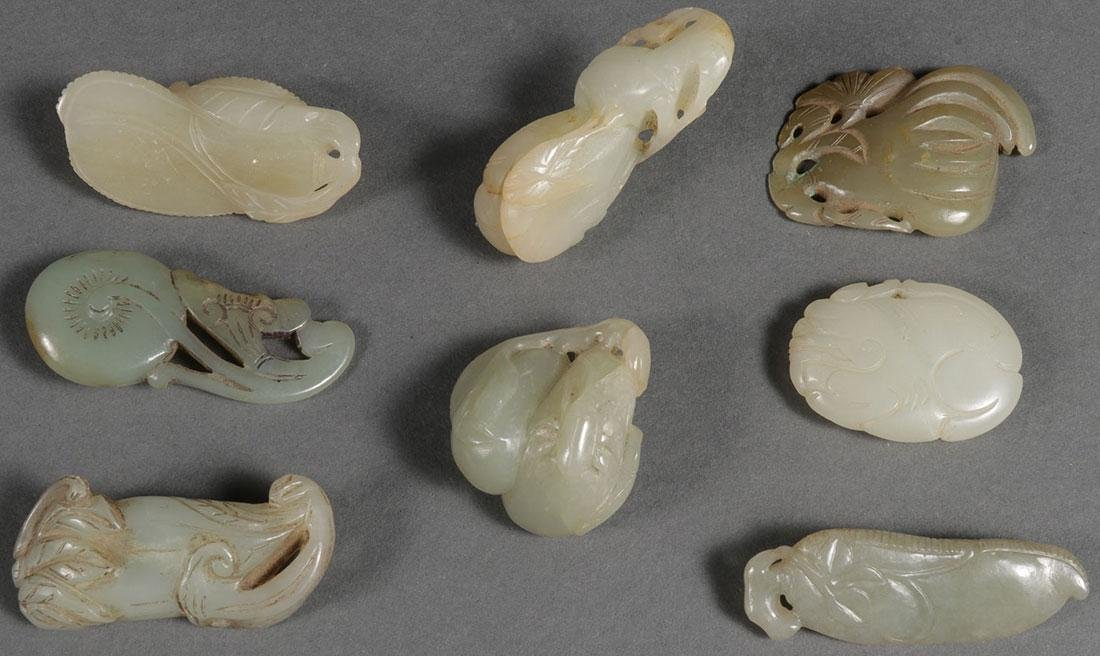 8 CHINESE CARVED JADE PENDANTS, QING DYNASTY