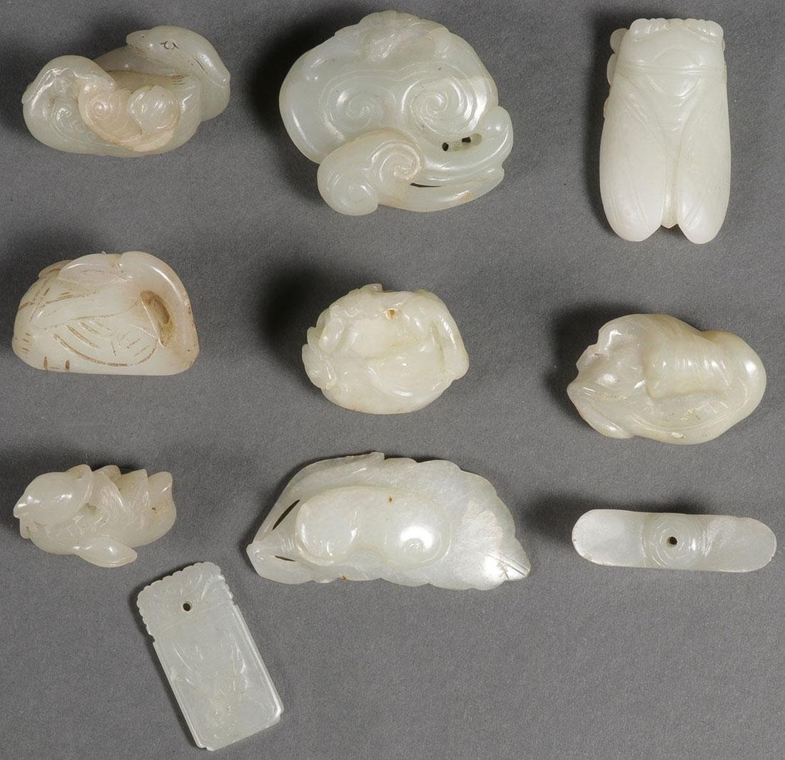 10 CHINESE JADE PENDANTS, MOSTLY QING DYNASTY