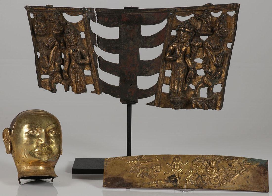 THREE SINO-TIBETAN GILT BRONZE BUDDHIST FRAGMENTS