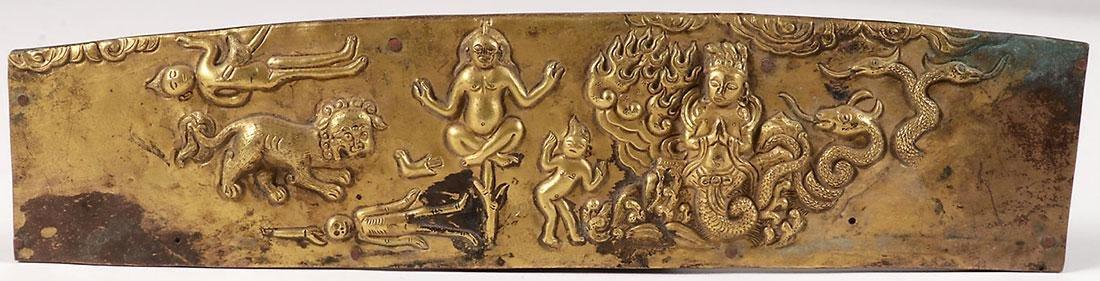 THREE SINO-TIBETAN GILT BRONZE BUDDHIST FRAGMENTS - 2