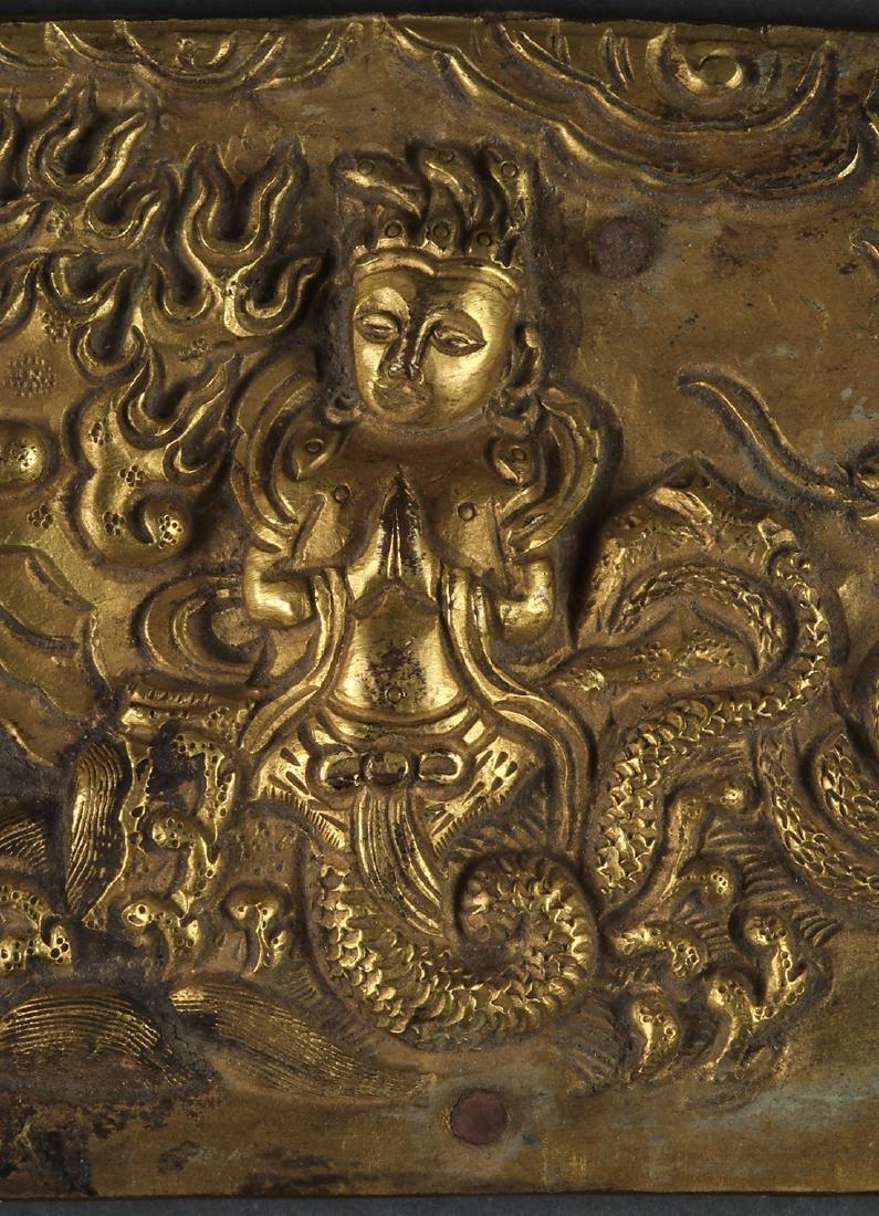 THREE SINO-TIBETAN GILT BRONZE BUDDHIST FRAGMENTS - 3