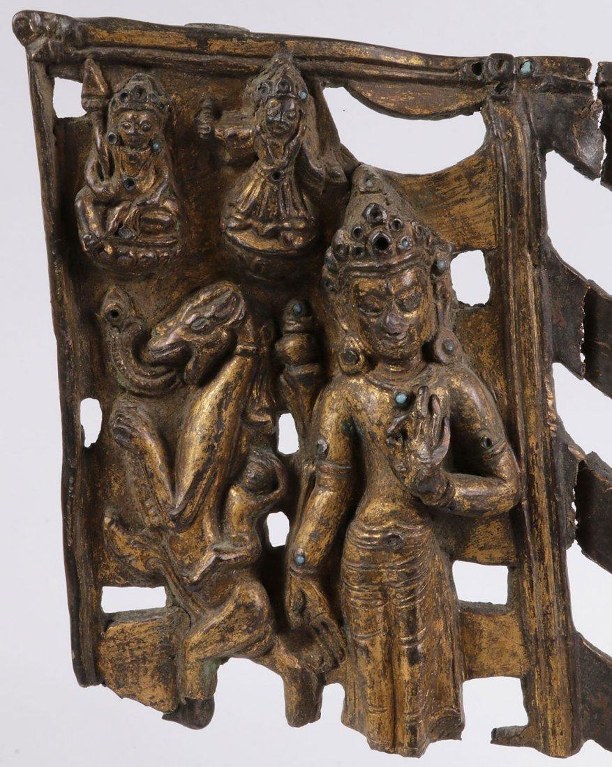 THREE SINO-TIBETAN GILT BRONZE BUDDHIST FRAGMENTS - 9