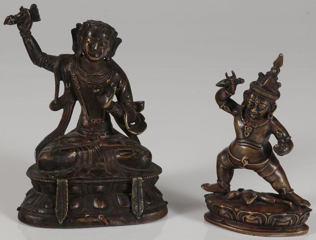 A PAIR OF SINO-TIBETAN BRONZE BUDDHIST DEITIES