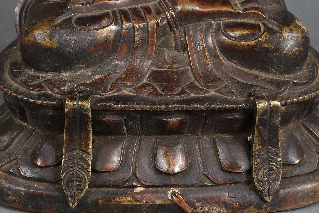 A PAIR OF SINO-TIBETAN BRONZE BUDDHIST DEITIES - 4