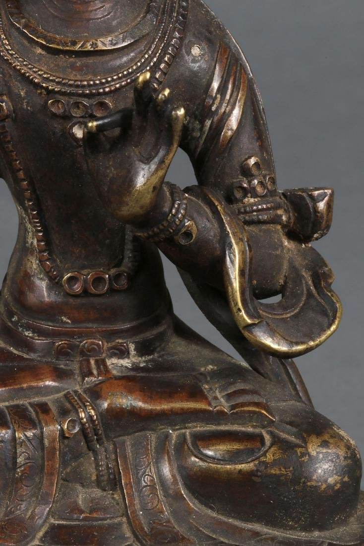 A PAIR OF SINO-TIBETAN BRONZE BUDDHIST DEITIES - 7