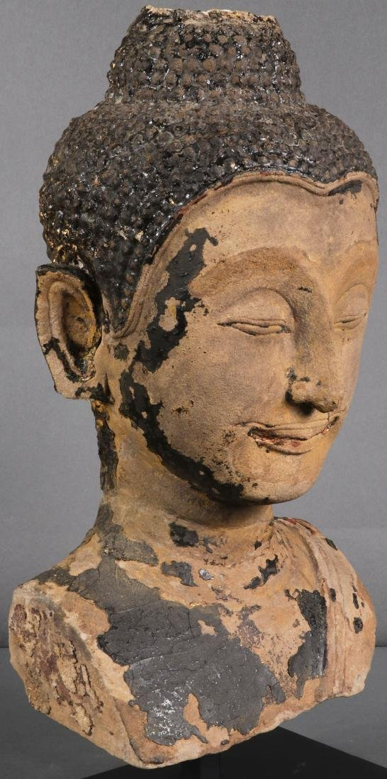A CARVED SANDSTONE HEAD & TORSO OF BUDDHA - 10