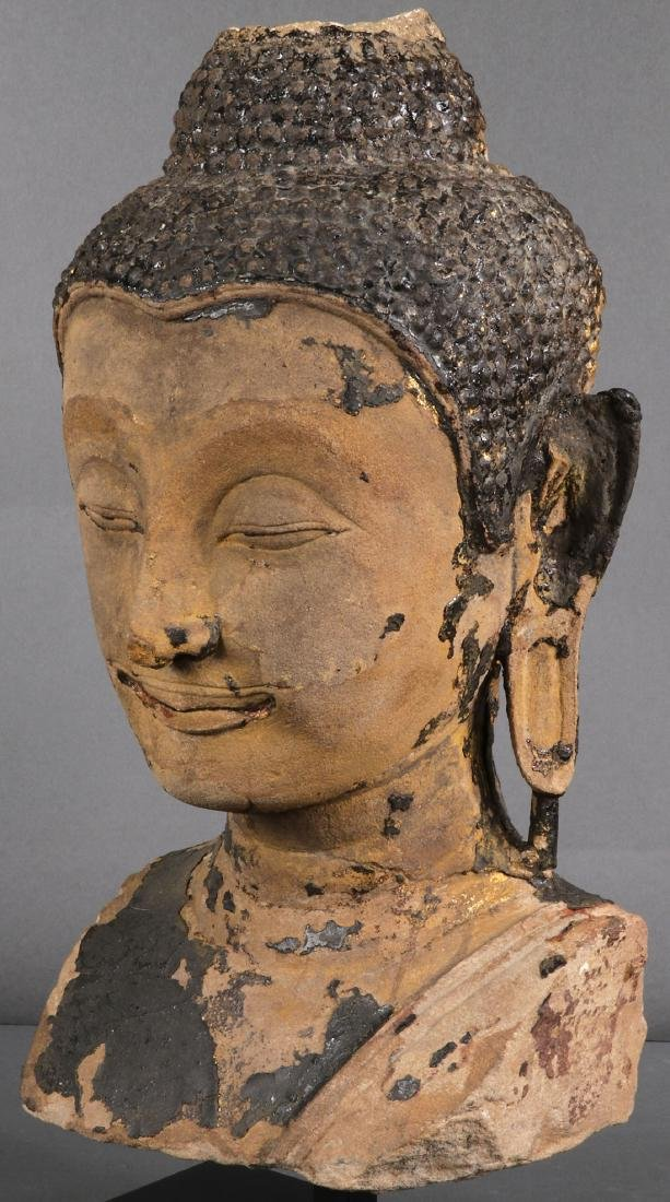 A CARVED SANDSTONE HEAD & TORSO OF BUDDHA - 9