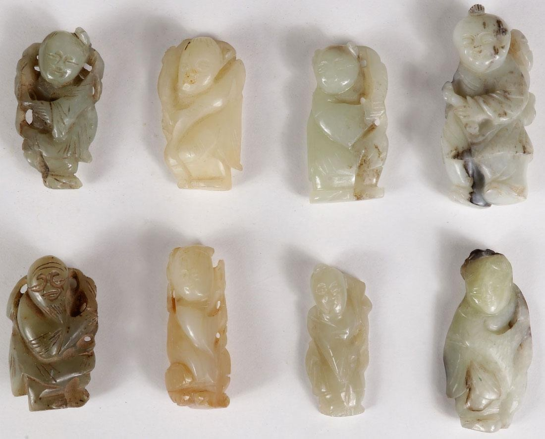 8 CHINESE JADE AND HARDSTONE CARVED IMMORTALS - 2