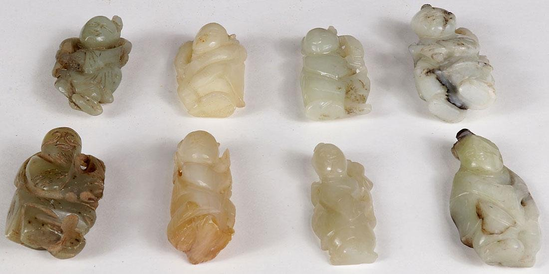 8 CHINESE JADE AND HARDSTONE CARVED IMMORTALS - 3