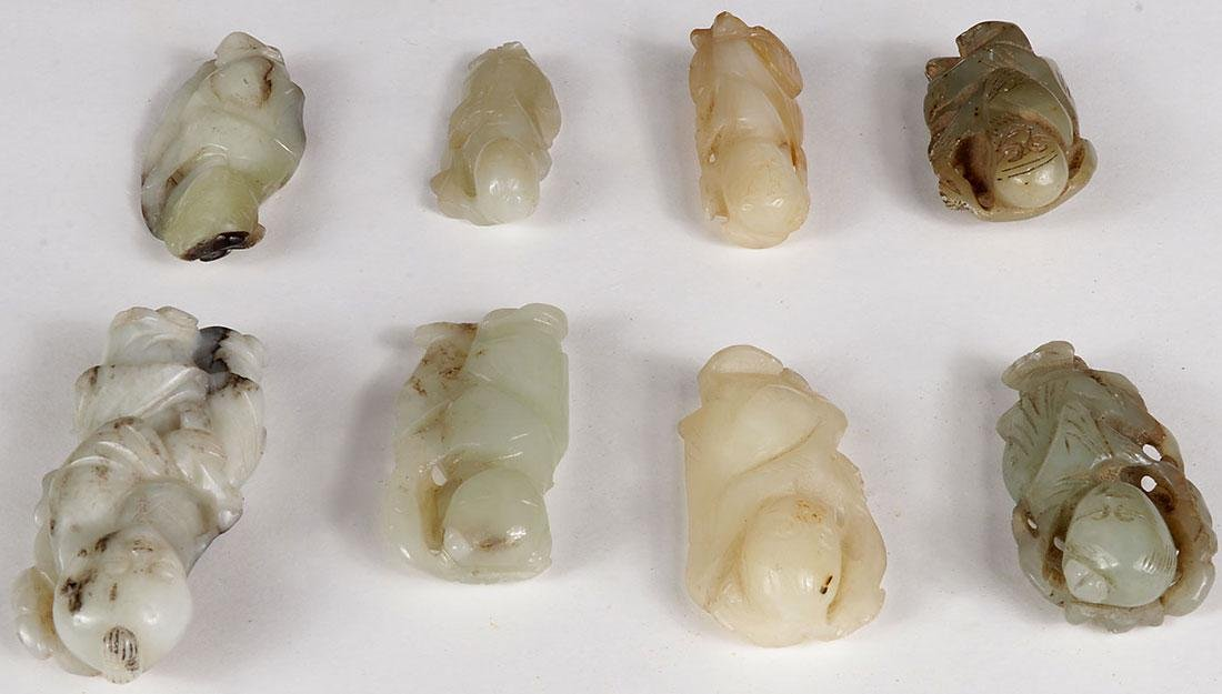 8 CHINESE JADE AND HARDSTONE CARVED IMMORTALS - 4