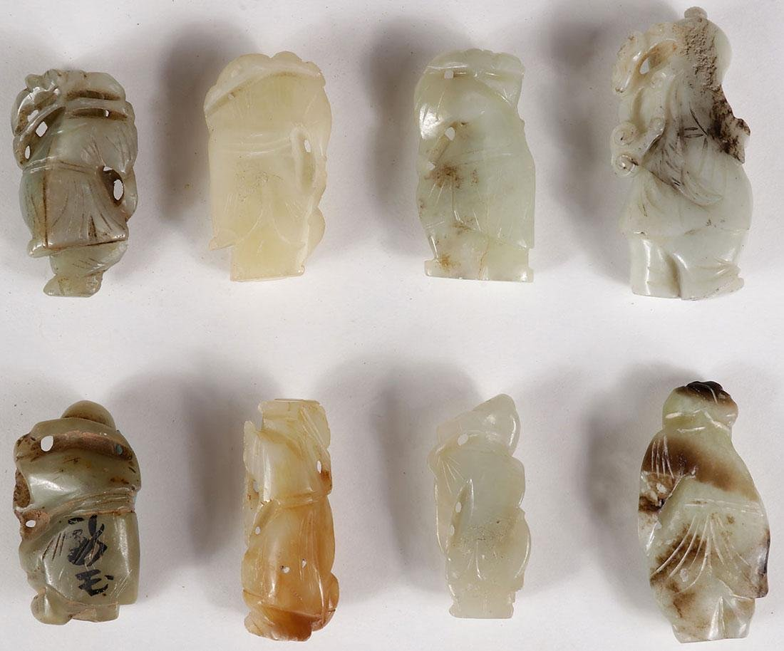 8 CHINESE JADE AND HARDSTONE CARVED IMMORTALS - 5