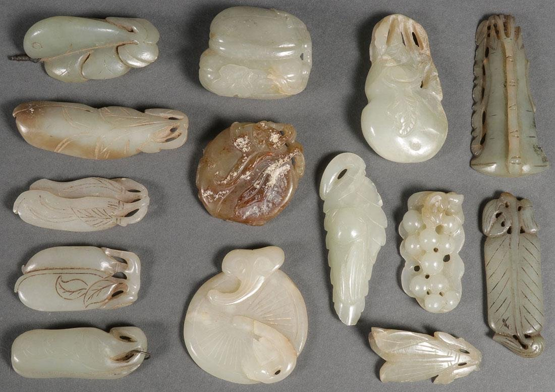 14 CHINESE CARVED JADE PENDANTS, QING DYNASTY