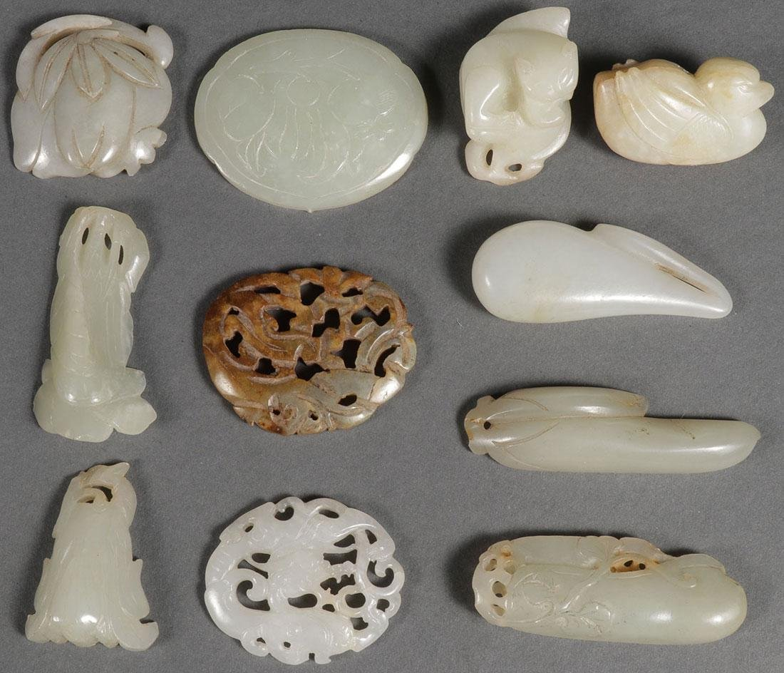 10 CHINESE CARVED JADE PENDANTS, QING DYNASTY