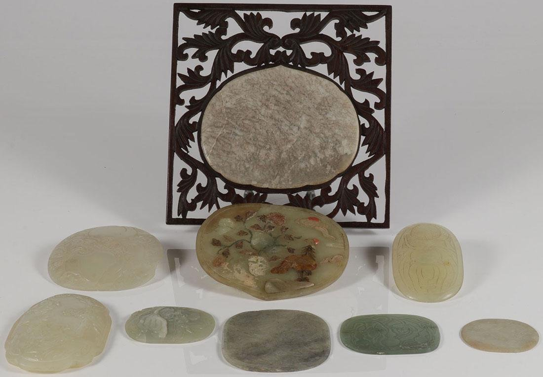 NINE CHINESE CARVED JADE AND JADEITE PLAQUES