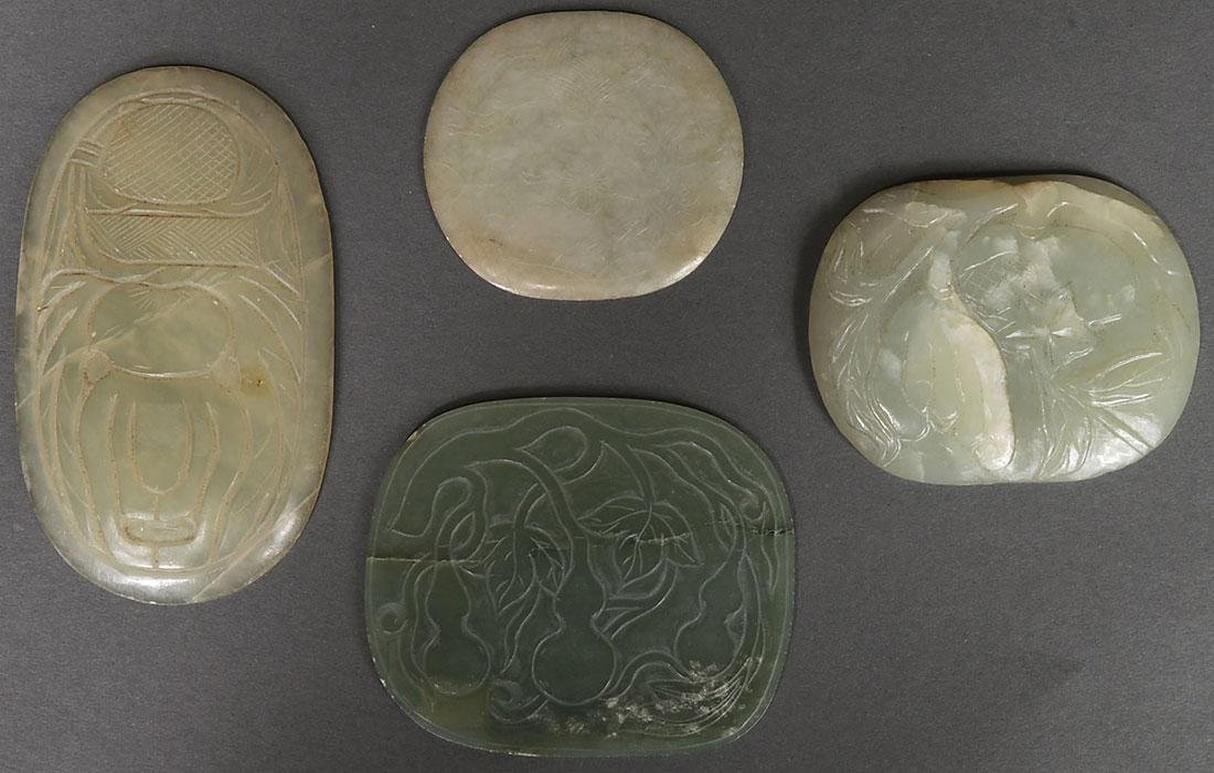 NINE CHINESE CARVED JADE AND JADEITE PLAQUES - 2