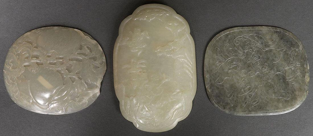 NINE CHINESE CARVED JADE AND JADEITE PLAQUES - 3