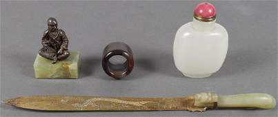 A GROUP OF FOUR CHINESE DECORATIVE ITEMS 19TH C