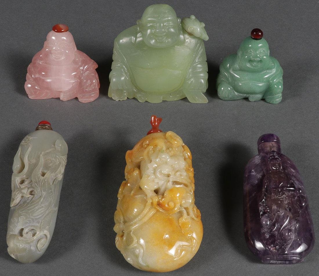 6 CHINESE CARVED JADE AND HARDSTONE SNUFF BOTTLES