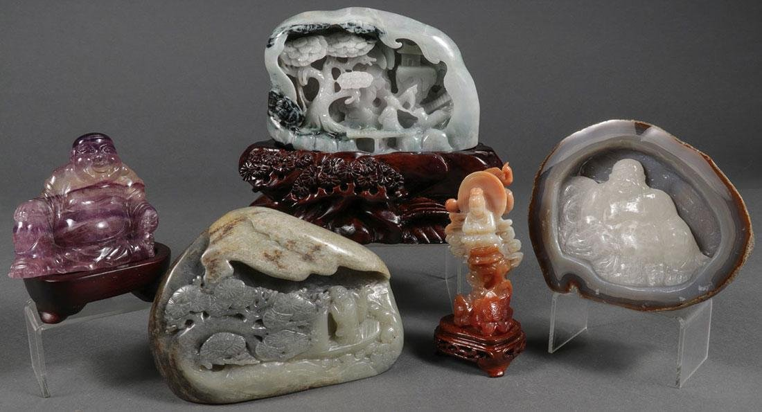 FIVE CHINESE CARVED HARDSTONES