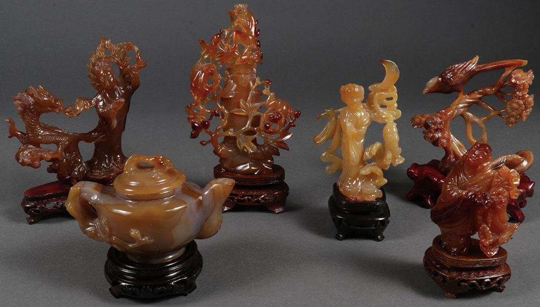 SIX CHINESE CARVED AGATE OBJECTS