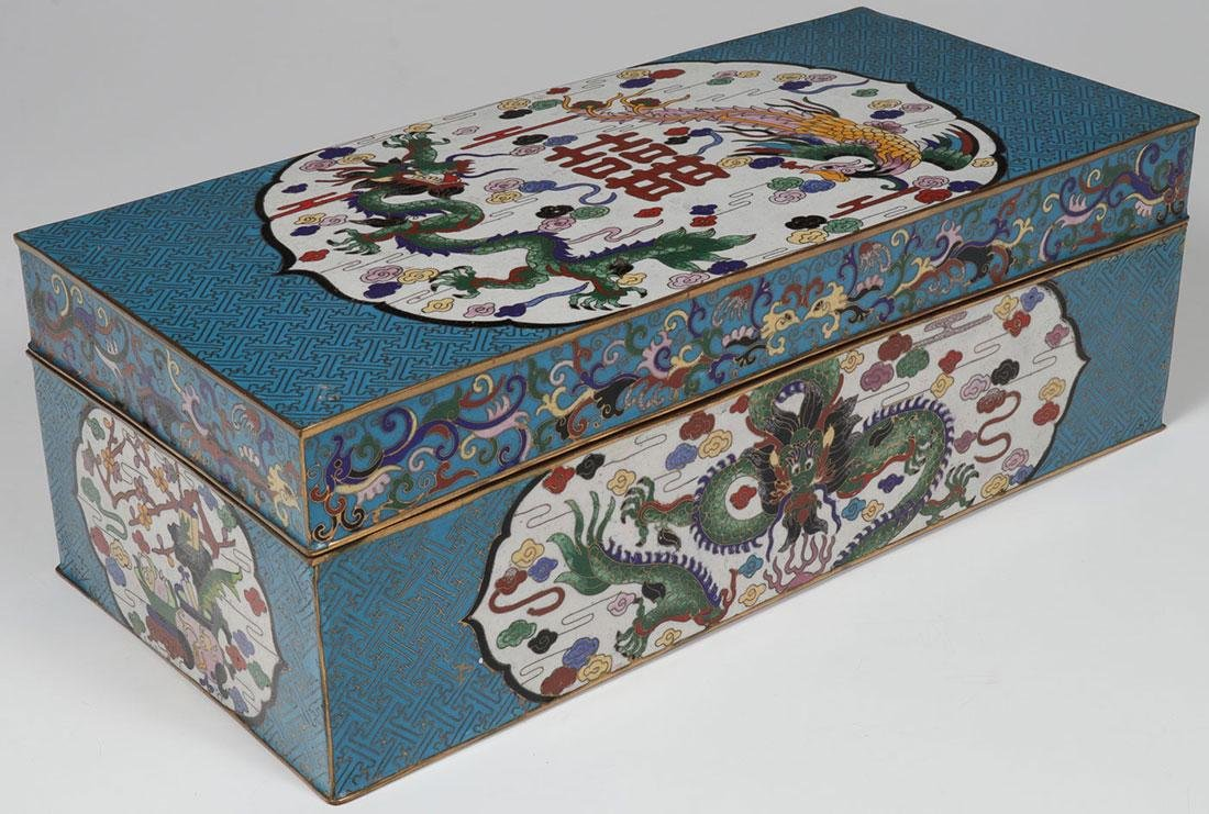 A LARGE CHINESE CLOISONNÉ LIDDED BOX