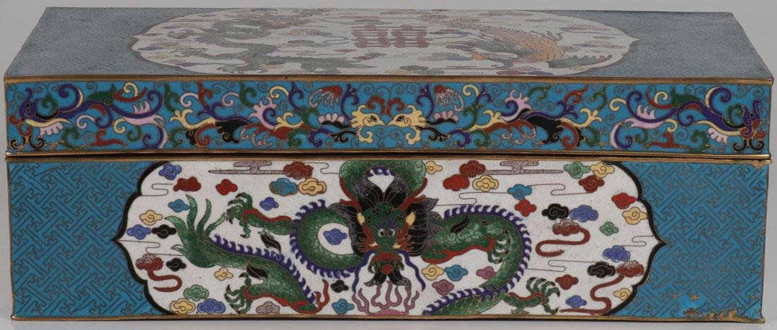 A LARGE CHINESE CLOISONNÉ LIDDED BOX - 2
