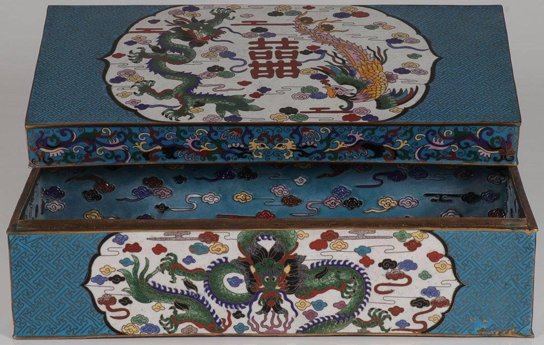 A LARGE CHINESE CLOISONNÉ LIDDED BOX - 3